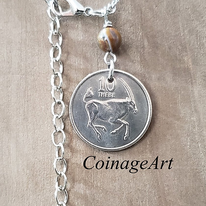 South Africa Coin Necklace w/Opal 1293