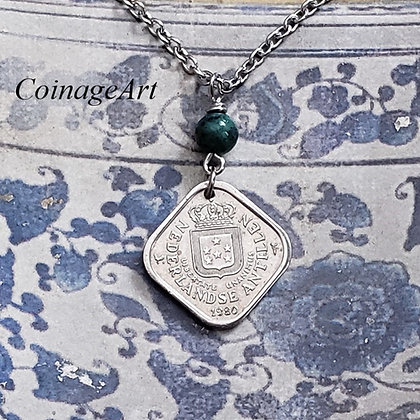 Netherlands Coin Necklace w/Chrysocolla 1233