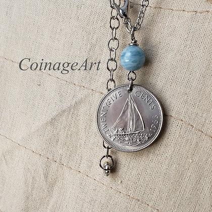 1966 Nautical Coin Necklace, Aquamarine 603