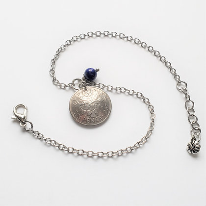 Sixpence Anklet Domed Coin w/Lapis Lazuli 5060