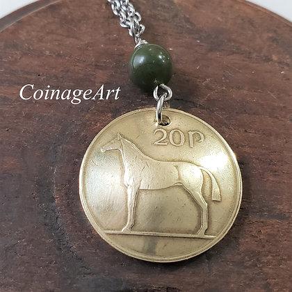 Irish Horse Coin Necklace w/Connemara 5045