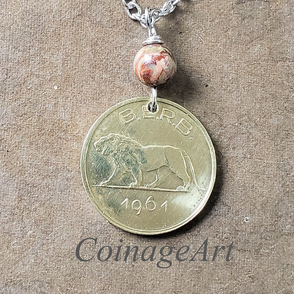 Lion 1961 Coin Necklace w/Opal 1310