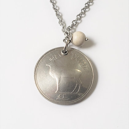Irish Deer Coin Necklace, Ulster Marble 803