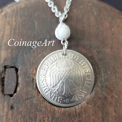 German Eagle Coin Necklace w/Howlite 5073