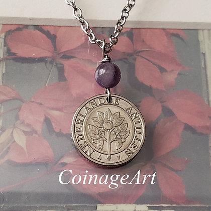 Netherlands Flower Coin Necklace w/Amethyst 5063