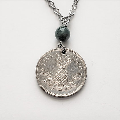 Bahamas Coin Pineapple Necklace w/Moss Agate 5065
