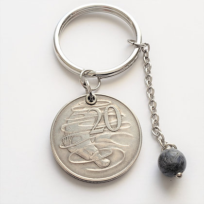 1966 Australia Coin Keychain w/Coral 1273