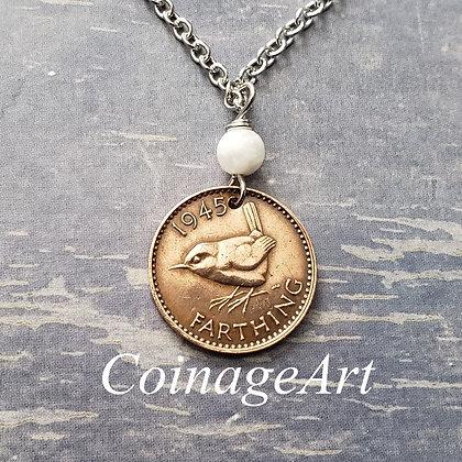 British Wren Coin Necklace w/Moonstone 5013