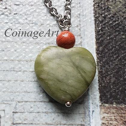 Connemara Heart Necklace w/ Cork Red Marble 5033