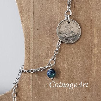 1981 Caribbean Coin Bracelet w/Chrysocolla 1066