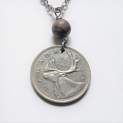 Canada Caribou Coin Necklace, Cork Marble 629