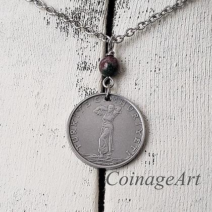 Turkey 1959 Coin Necklace w/Bloodstone 1235