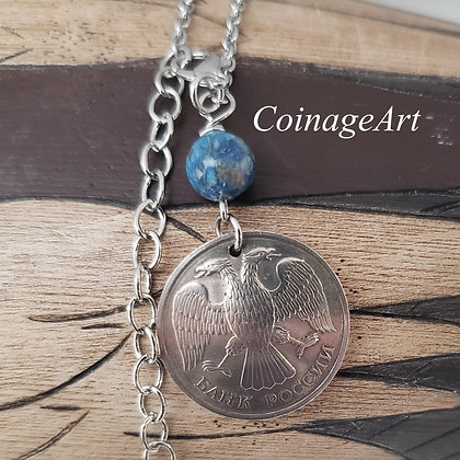 Russia Eagle Coin Necklace w/Turquoise 1289