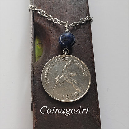 Bermuda Coin Necklace w/Dumortierite 5059