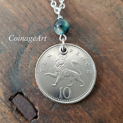 British Lion Coin Necklace w/Tigers Eye Stone 5066