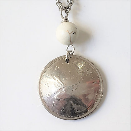 Canada Deer 2005 Coin Necklace w/Howlite 1211