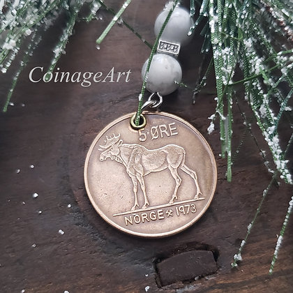 Norway Moose Coin Ornament with Howlite Gemstones  5004