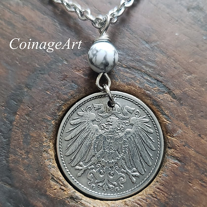 German Eagle Coin Necklace w/Howlite 1328