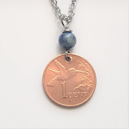 Hummingbird Coin Necklace w/Lapis Lazuli  5032