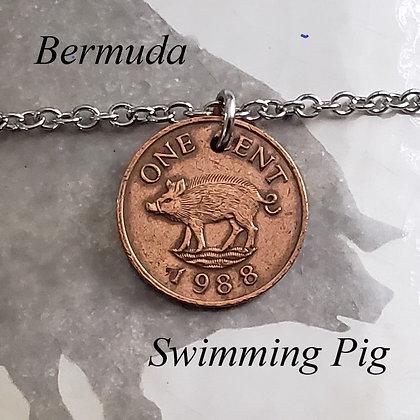 1988 Bermuda Pig Coin Necklace, Jasper 997