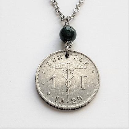 Caduceus 1929 Coin Necklace w/Agate 1247