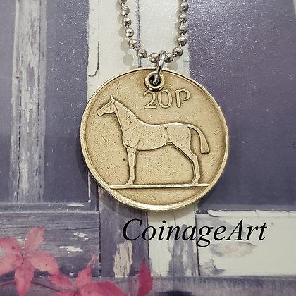 1988 Irish Celtic Horse Coin Necklace 831