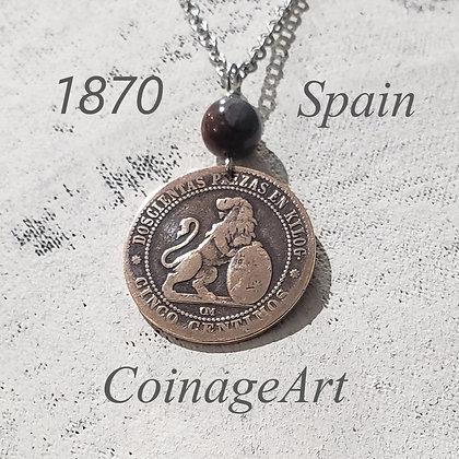 1870 Spanish Coin Necklace w/Dumortierite 1236