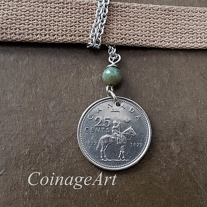 Canadian Mountie Coin Necklace w/Agate 1284
