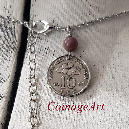 1997 Malaysia Coin Necklace w/Agate 1295