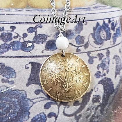 Austria Edelweiss Coin Necklace with Moonstone Gemstone  5008