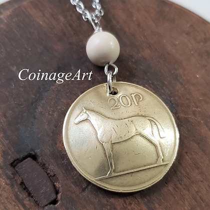 Irish Horse Coin Necklace w/Ulster Marble 5047