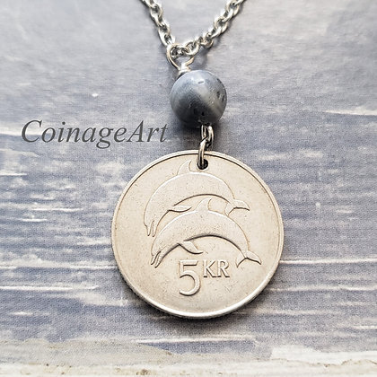 Iceland 1981 Coin Necklace w/Coral 1311