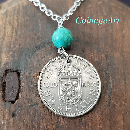 Scottish Lion Coin Necklace w/Turquoise 5061