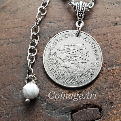 Antelope Coin Necklace w/Howlite 915