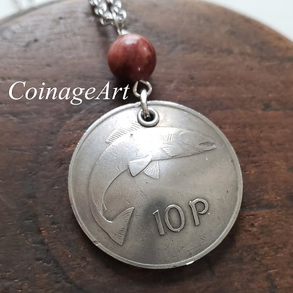 Celtic Fish Coin Necklace w/Cork Red Marble 5055