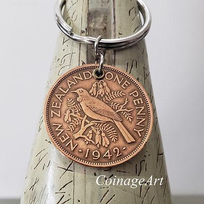 1942 New Zealand Bronze Coin Keychain 1290