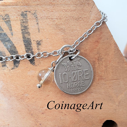 Norway Bee Coin Anklet w/Citrine 5070