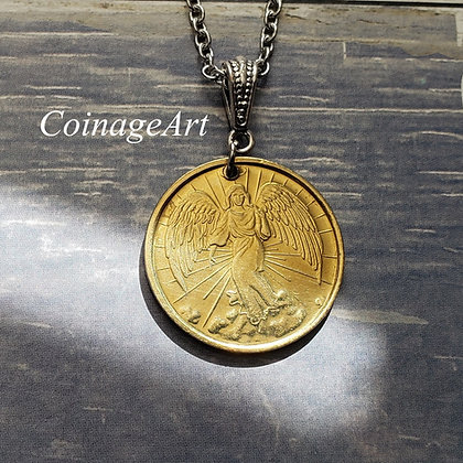 Guardian Angel Coin Necklace with Moon Stone Gemstone  5011
