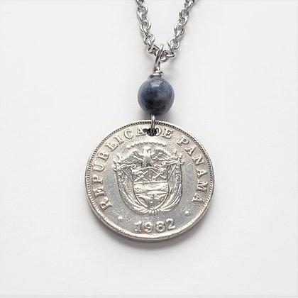 Panama Eagle Coin Necklace w/Dumortierite 1330