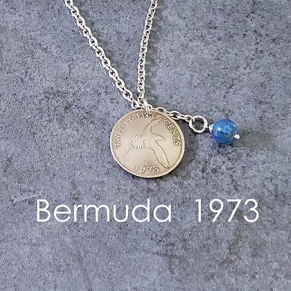 1973 Bermuda Coin Lariat w/Turquoise 1071