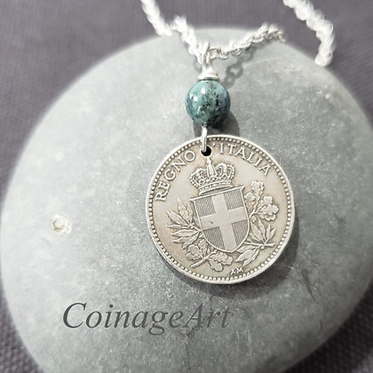 Italy Coin Necklace w/Chrysocolla Lapis  5042