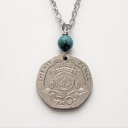 British Tudor Rose Necklace w/Turquoise 5064
