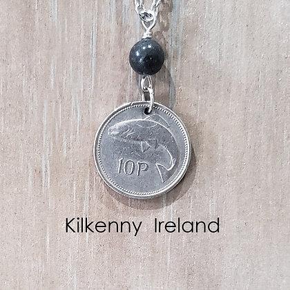 Irish Fish Coin Necklace, Kilkenny Marble 770