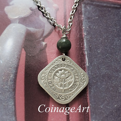 Netherlands Coin Necklace w/Blood Agate 5058