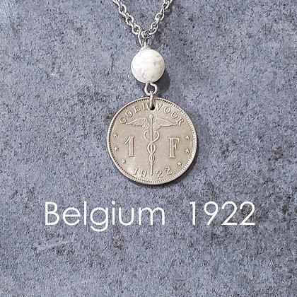Caduceus Coin Necklace w/Howlite 1212