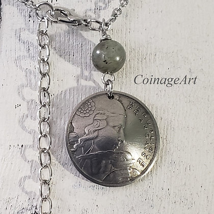 French Coin Necklace with Blue Labradorite Gemstone  5009