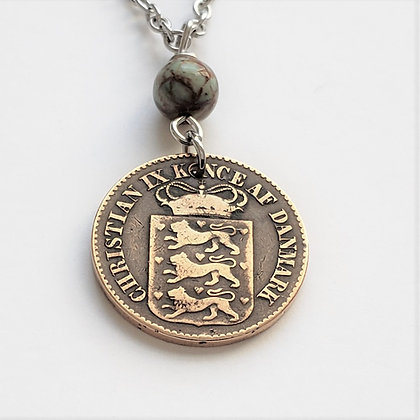 1868 Danish W. Indies Coin Necklace w/Opal 1281
