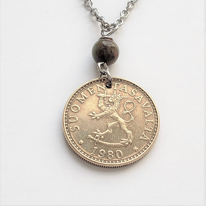1980 Finland Lion Coin Necklace w/Opal 1291