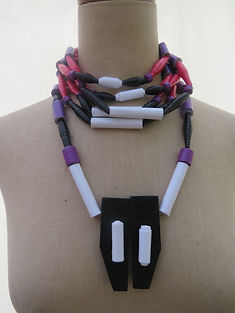 Paper Bead Statement Choker with Bead/Wood Pendant