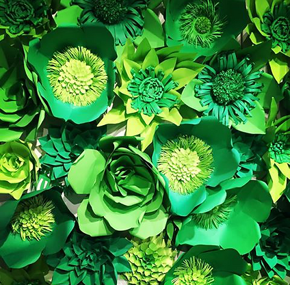 Green Paper Flower Backdrop